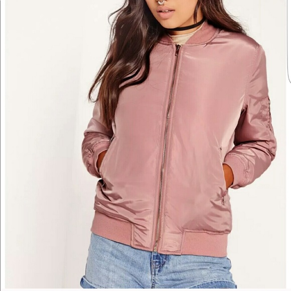 Missguided Jackets & Blazers - MISSGUIDED Satin Padded Bomber Jacket 8 Pink